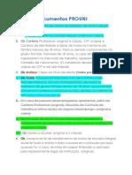 Lista de Documentos PROUNI