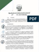 Resolución de Subsecretaria General N 014-2019-DP-SSG CA