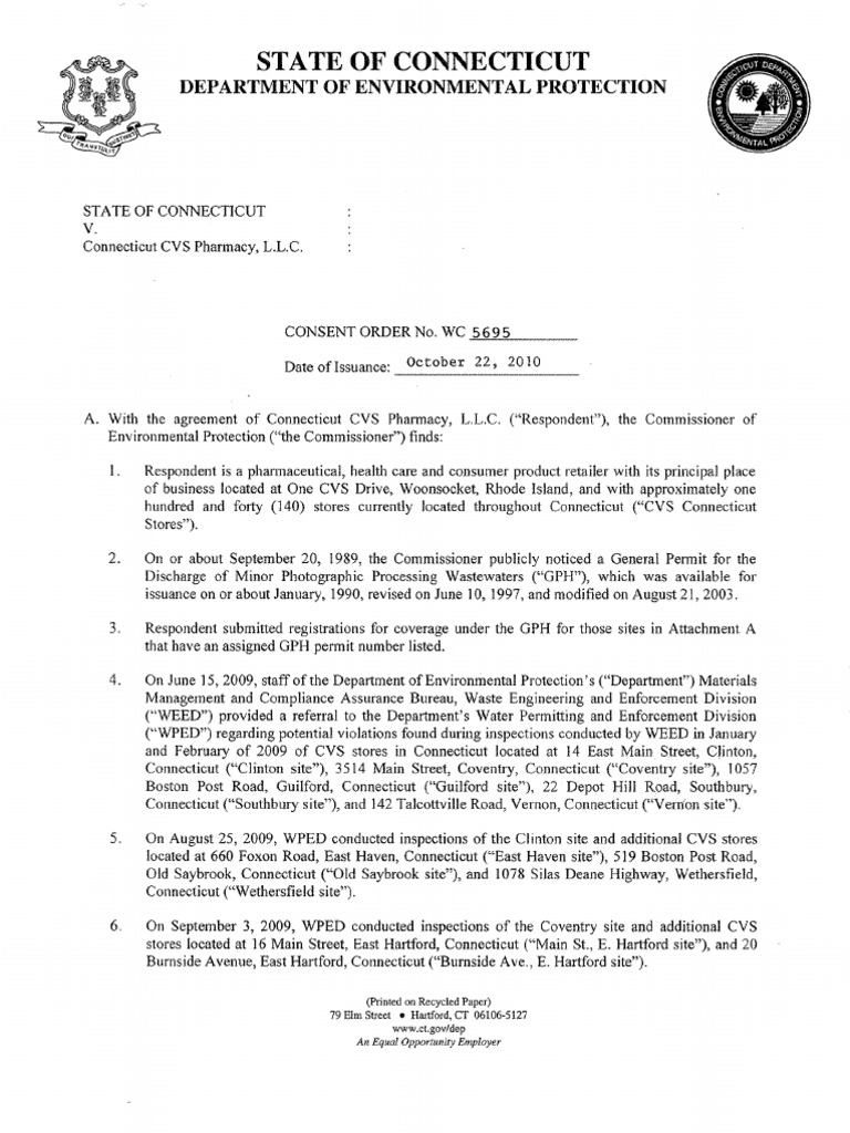 cvs consent order with ct dep sewage treatment consent decree