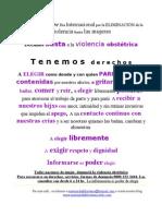 VOLANTE SOBRE DERECHOS PARA SALAS DE ESPERA OBSTETRICIA, GUARDIAS, ETC.