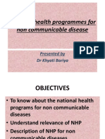 National Health Programes for Non Communicable Disease