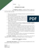 Affidavit of Loss- Passport