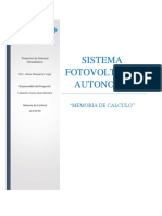 Memoria de Calculo Fotovoltaico. Camacho Gasca