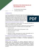 Conducta Anestesica Peri Operatoria en Losprocedimientos de Orl