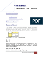 Suma Resta Producto Division Binarios
