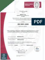 Certificado BVQI ISO 9001 2008