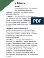 Cultura e Ciência