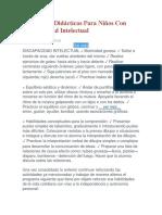 Estrategias Didácticas Para Niños Con Discapacidad Intelectual