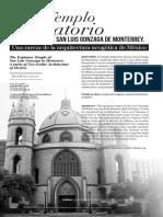 El Templo Expiatorio de San Luis Gonzaga de Monterrey.  Una Rareza de la arquitectura neogótica de México
