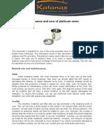 Maintenance and Care of Platinumware