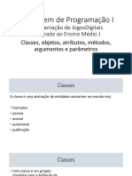Classes, Objetos, Atributos, Métodos, Argumentos e Parâmetros
