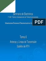 Tema 6. Seminario de Electrónica Instalaciones dedd Telecomunicaciones. Antenas y Líneas L Satélite de RTV. Infraestructuras