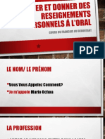 Demander Et Donner Des Reseignements Personnels á L'Oral