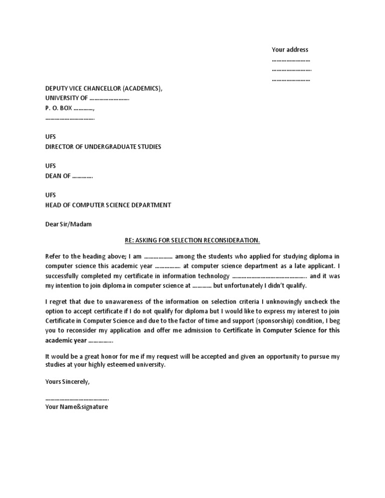 Format Letter Seeking Admission School.  Sample Letter for Admission Reconsideration