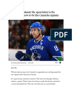 Markus Naslund - My Open Letter to Bo Horvat on How to Be the Canucks Captain