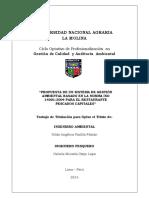 Propuesta de Implementación con la Norma ISO 14001 para restaurantes