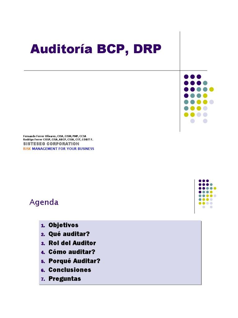 Microsoft Power Point - Auditoria Plan de ad BCP DRP