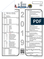 2019 Super Bowl LIII 53 Prop Bet Sheet