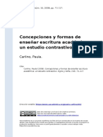 Carlino, Paula (2008). Concepciones y Formas de Ensenar Escritura Academica Un Estudio Contrastivo