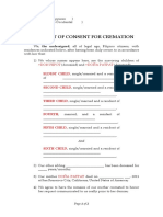 Affidavit of Consent for Cremation Proforma