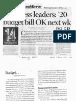 Business Mirror, Dec. 4, 2019, Congress leaders 20 budget bill OK next wl 9.5B.pdf