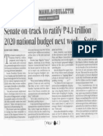Manila Bulletin, Dec. 4, 2019, Senate on-track to retify P4.1-trillion 2020 national budget next week - Sotto.pdf