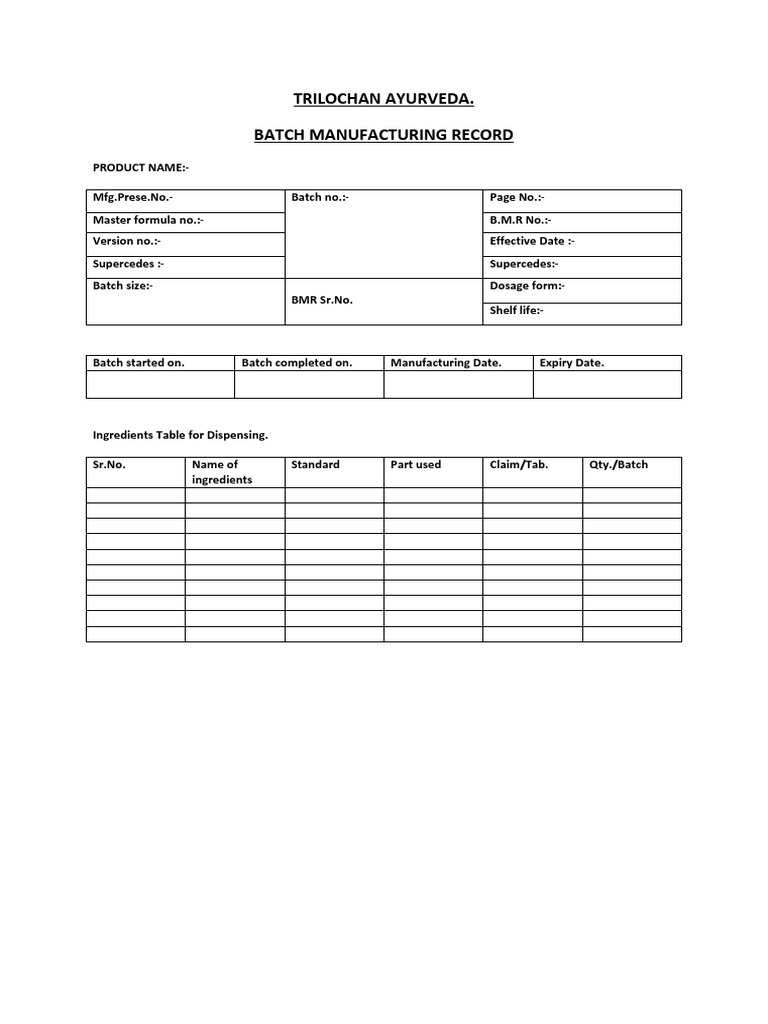 Batch Manufacturing Record SAMPLE Tablet (Pharmacy) Nature