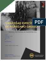 Informe de La Gravedad Especifica Del Agregado Grueso