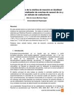 Estudio Teórico de La Cinética de Reacción en Biodiésel Elaborado Con Catalizador de Conchas de Caracol de Río y Con Método de Codisolvente