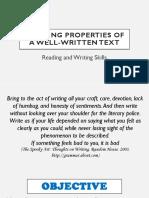 Properties of a Well-written Texts