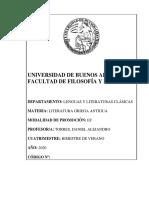 Programa Literatura Griega Antigua