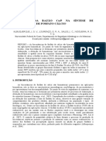 Influência Da Razão Cap Na Síntese de Biocerâmicas de Fosfato Cálcio