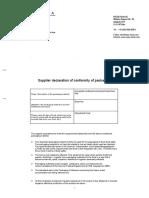 Hylea Foods - Supplier Declaration of Conformity of Packaging 2019.PDF Respuesta