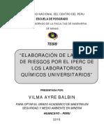 Elaboracion de La Matriz de Riesgos Por El IPERC de Laboratorios Quimicos Universitarios