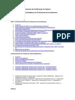 Programa de Certificação Da Apimec