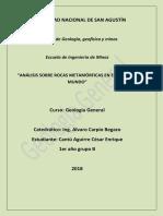 Análisis de Rocas Metamórficas en El Perú y El Mundo