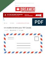 Un Modèle de Lettre Pour TEF Canada