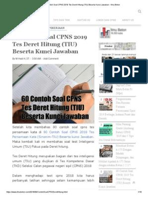 60 Contoh Soal Cpns 2019 Tes Deret Hitung Tiu Beserta Kunci Jawaban