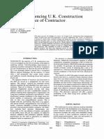Factors Influencing U.K. Construction Clients' Choice of Contractor