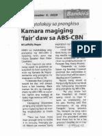 Bandera, Dec. 5, 2019, Sa pagtalakay sa prangkisa Kamara magiging fair daw sa ABS_CBN.pdf