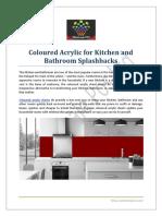 Coloured Acrylic for Kitchen and Bathroom Splashbacks