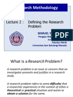 Lecture 2 - Research Methods - Defining the Research Problem