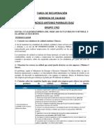 TAREA DE RECUPERACIÓN DE GERENCIA DE CALIDAD ( PRIMER PARCIAL)