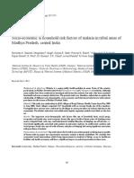 Socio-economic & household risk factors of malaria in tribal areas of  Madhya Pradesh, central India