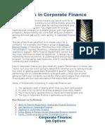Careers in Corporate Finance
