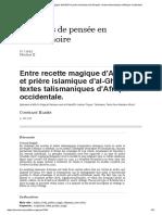 Entre Recette Magique d'Al-Bûnî Et Prière Islamique d'Al-Ghazali_ Textes Talismaniques d'Afrique Occidentale