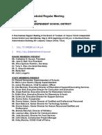 Corpus Christi ISD Board Minutes - 5 6 2019 plus Ag Transition
