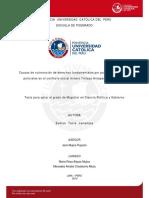 Causas de vulneración de derechos fundamentales por parte de las fuerzas policiales en el conflicto social minero Tintaya Antapaccay en el 2012