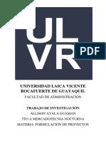 Universidad Laica Vicente Rocafuerte de Guayaquil Formulacion de Proyectos