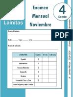 Noviembre - 4to Grado - Examen Mensual (2019-2020)